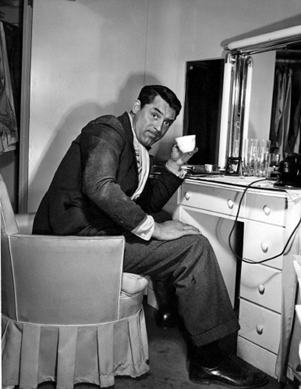 Cary Grant on coffee break while on the set of NONE BUT THE LONELY HEART, 1944.